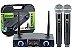 Microfone s/ Fio Karsect KRD-200DR Mao Duplo Bateria Recarregavel - Imagem 1