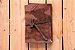 """Caderneta de couro marrom """"surrado"""" com miolo envelhecido Bodoque - Imagem 1"""