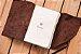 """Caderneta de couro marrom """"surrado"""" com miolo envelhecido Bodoque - Imagem 3"""