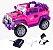 Jipe Rali Carro Elétrico Infantil Pink Com Controle Remoto Belfix - Imagem 1