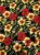 Tecido Jacquard floral preto vermelho - Imagem 1