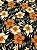 Tecido Jacquard floral preto laranja - Imagem 1