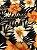 Tecido Jacquard floral preto laranja - Imagem 3