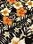 Tecido Jacquard floral preto laranja - Imagem 2