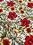 Tecido Jacquard floral branco vermelho - Imagem 1