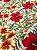 Tecido Jacquard floral branco vermelho - Imagem 2