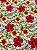 Tecido Jacquard floral branco vermelho - Imagem 3