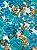 Tecido Gorgurinho floral azul branco - Imagem 2