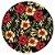 Sousplat Jacquard floral preto vermelho - Imagem 1