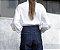 Calça cintura alta com pespontos brancos - Imagem 5