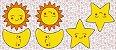 Tecido Tricoline - Pillows - Rostinhos de Sol, Lua e Estrela - 60 cm x 150 cm  - Imagem 1