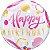 """Balão Buble 22"""" Happy Birthday - Rosa e Dourado - 56 cm - Imagem 1"""