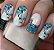 Películas ou Adesivos decorados para unhas  Degradê Azul Floral - Imagem 1