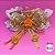 Coleira Glamu Pet com Detalhes em Fitas e Pedrarias Laranja - Imagem 3