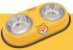 Comedouro Duplo Inox Amarelo Fox - Imagem 1