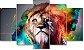 LEÃO CORES - Quadro Mosaico 5 Telas em Canvas - Imagem 1