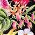 Caderno Artesanal Capa de tecido - Estampa Floral fundo preto - Imagem 2