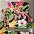 Caderno Artesanal Capa de tecido - Estampa Floral fundo preto - Imagem 3