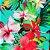 Caderno Artesanal Capa de tecido - Estampa Floral fundo tiffany - Imagem 2