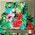 Caderno Artesanal Capa de tecido - Estampa Floral fundo tiffany - Imagem 3