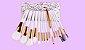 Kit 15 Pinces Premium MSQ - Cerdas Brancas e Cabo Branco + Estojo - Imagem 1