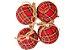 Kit Bola de Natal Xadrez Hang Vermelha com 8 Peças - Etna - Imagem 1