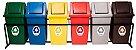Conjunto para coleta seletiva com 06 cestos quadrados com tampa vai e vem 52 Litros - Imagem 1