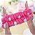 Faixa para cabelo de pelúcia - Laço rosa pintado com bolinhas branca - Imagem 2