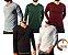 Camiseta Masculina Slim Fit GOLA V Manga Longa - 100% Algodão - 6 Cores - Imagem 1