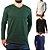 KIT 4 Camiseta Masculina Slim Fit GOLA V Manga Longa - 100% Algodão (1 Verde, 1 Preta, 1 Branca, 1 Azul) - Imagem 1