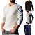 KIT 4 Camiseta Masculina Slim Fit GOLA V Manga Longa - 100% Algodão (1 Branca, 1 Preta, 1 Cinza, 1 Azul) - Imagem 1