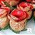 25 Forminhas para doces Flor Botão Rosa - Vermelho com Dourado - F043 - Imagem 1