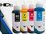 Kit Tinta Epson 4 cores Preto | Ciano |  Magenta |  Amarelo T664120 T664220 T664320 T664420 Corante | L355 L365 L375 L555 L200 L455 L475 L395 | HDink 100ml cada cor - Imagem 1