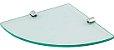 Prateleira de Vidro Temperado 6 mm Para Cantos de Parede 23 x 32 cm Kit Fixação Aço Inox - Imagem 1