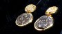 Brincos Cristal de Geodo de Rocha de Quartzo Titânio Círculo e Zircônias - Imagem 4