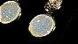 Brincos Cristal de Geodo de Rocha de Quartzo Natural Círculo e Zircônias - Imagem 4