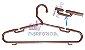 Cabide Gaúcho  Fixo Completo -   Rose Golden - CAIXA 140 PÇS- 21cm (altura) x 45cm (largura) x 1cm (espessura) - Contém cavas superiores + Ganchos Inferiores + Estrias Antiderrapante - Imagem 1