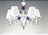 Lustre Rosas Candelabro Metal Branco 5 Braços Cristal 40x50cm Old Artisan 5x E27 Bivolt PL164-5 Salas e Hall - Imagem 1
