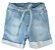 Bermuda de Bebê Menino Oliver moletom jeans claro bebê - Imagem 1