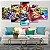 Quadro 5 Telas Decorativo Jogo Mario Kart (110x55 ou 160x90) - Imagem 1