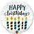 """BALÃO METALIZADO HAPPY BIRTHDAY VELAS E CONFETES 18""""(UNID) - Imagem 1"""