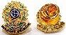 Distintivo Carteira Couro Agente De Escolta Armada Folheado A Ouro Brinde Bótom - Imagem 3
