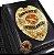 Distintivo Carteira Couro Agente Vigilante Folheado A Ouro Brinde Bótom - Imagem 1