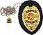 Distintivo Agente Vigilante Folheado A Ouro Couro Brinde Bótom - Imagem 1