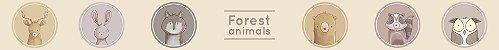 Adesivo faixa de parede Animais da Floresta Aquarela - Imagem 1