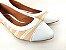 Sapatilha Têxtil Rosê com Bege Bico Branco - Imagem 2