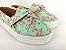 Tênis Slip On Iate Florido Verde em Têxtil Estampado - Imagem 1