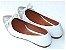 Sapatilha Branca Com Glitter Prateado Laço Bico Fino - Imagem 3