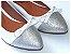 Sapatilha Branca Com Glitter Prateado Laço Bico Fino - Imagem 1