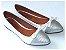 Sapatilha Branca Com Glitter Prateado Laço Bico Fino - Imagem 2
